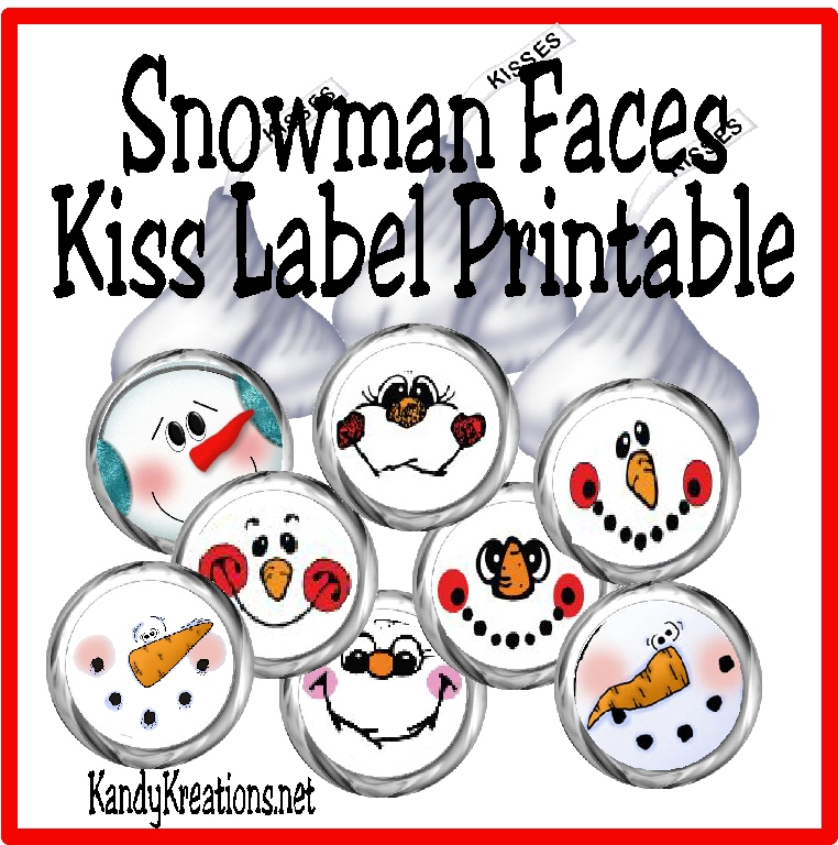 Bottoms with these cute snowman faces this kiss label free printable
