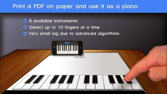 App Paper Piano: Suona il Pianoforte su un foglio di carta