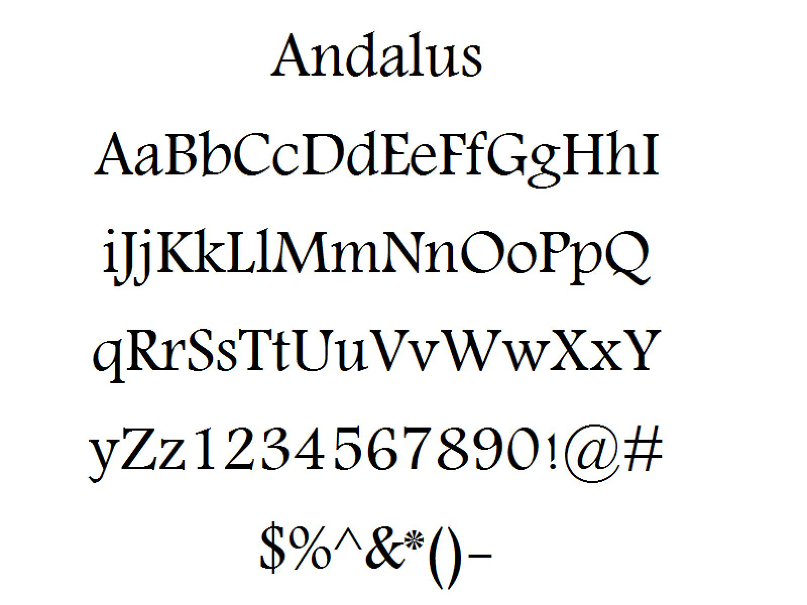 font alphabet styles andalus