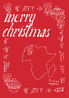 KES Christmas cards - red Africa