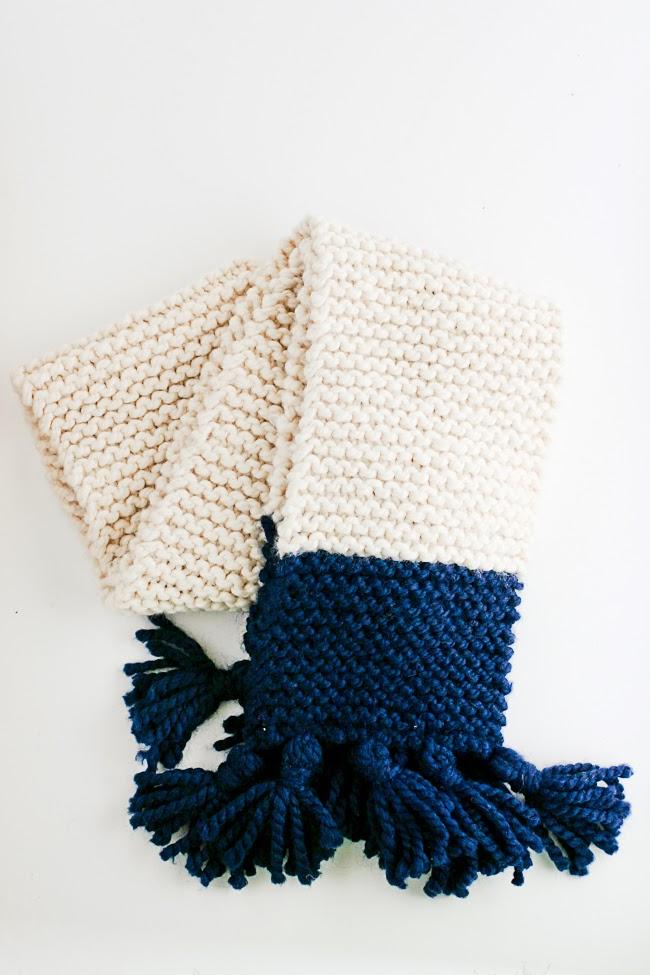 Knitting A Scarf Garter Stitch : Tasseled Garter Stitch Color Block Scarf Pattern - A Quick Cozy Knit Gift - F...