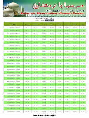 Jadwal Imsakiyah Kota Kediri Ramadhan 1436 H