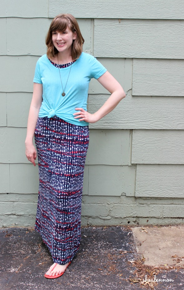 summer maxi dress look: styled as a skirt with a knotted tee | www.shealennon.com