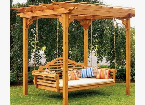 pergolas para jardin con columpio patios y jardines. Black Bedroom Furniture Sets. Home Design Ideas
