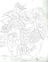 desenho de vaso com rosas