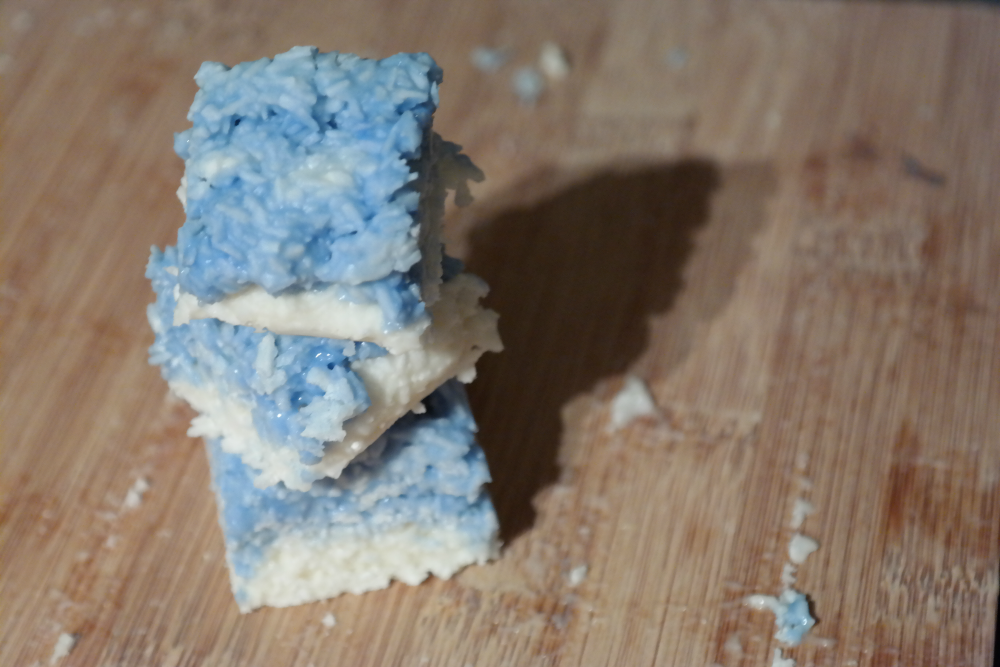 Blue and white coconut ice for frosty, frozen days