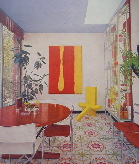 Vintage Dining Room,70s Modern Dining Room, Vintage Tile