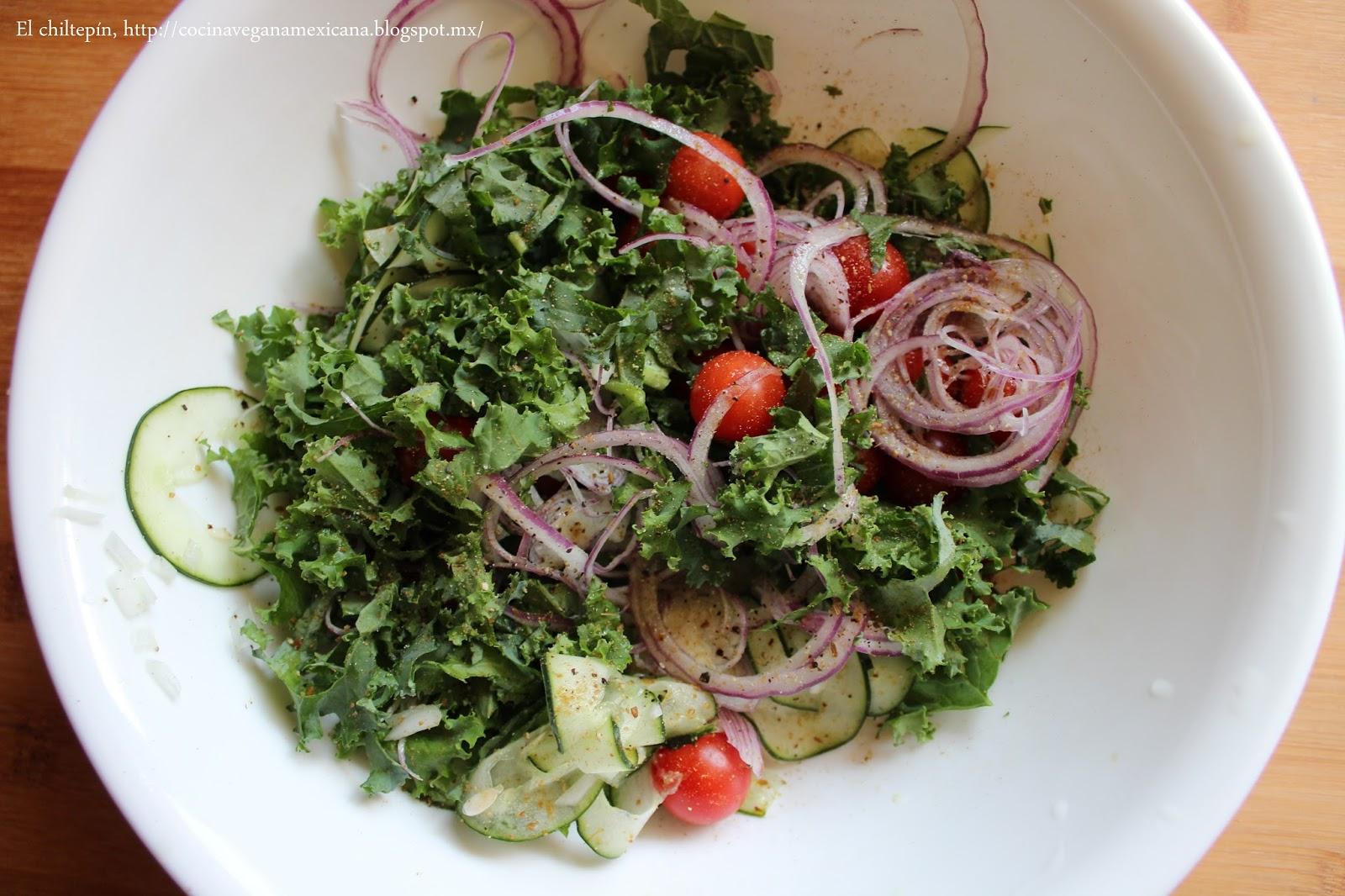 El chiltep n la dulce cocina vegana ensalada de kale y for El vinagre desinfecta