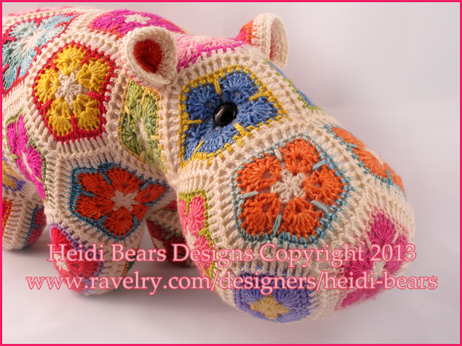 Free Crochet Hexagon Hippo Pattern : Heidi Bears: Happypotamus the happy Hippo crochet Pattern ...