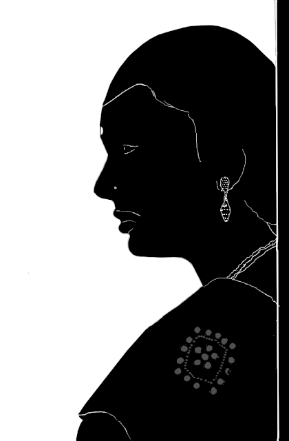 Silhouette portrait of an Indian woman