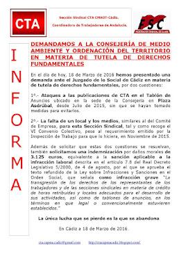 DEMANDAMOS A LA CONSEJERÍA DE MEDIO AMBIENTE Y ORDENACIÓN DEL TERRITORIO EN MATERIA DE TUTELA DE DE