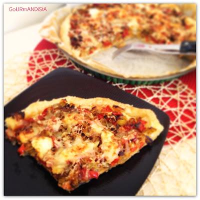 image-Tarte aux poireaux, bacon, poivrons rouges et crème fraîche