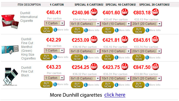 Buy cigarettes Dunhill tobacco cheap