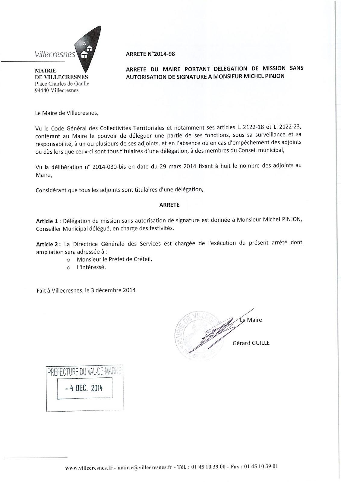 2014-098 Délégation de fonction mission sans autorisation de signature à Monsieur Michel Pijon