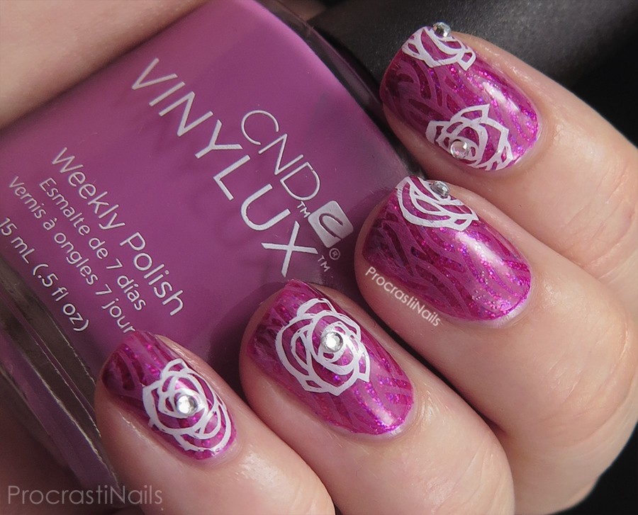 Valentines inspired nail art stamping with Born Pretty Store stamp BP-30