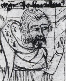 Magister Johannes Buridan als leraar - in een manuscript in de Jagiello Bibliotheek in Krakau, 1771, oorspr. uit Parijs ca 1370
