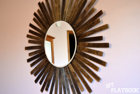 Paint Stick DIY Sunburst Mirror Brown wood stain: Paint Stick Sunburst Mirror Easy DIY Project | DIY Playbook