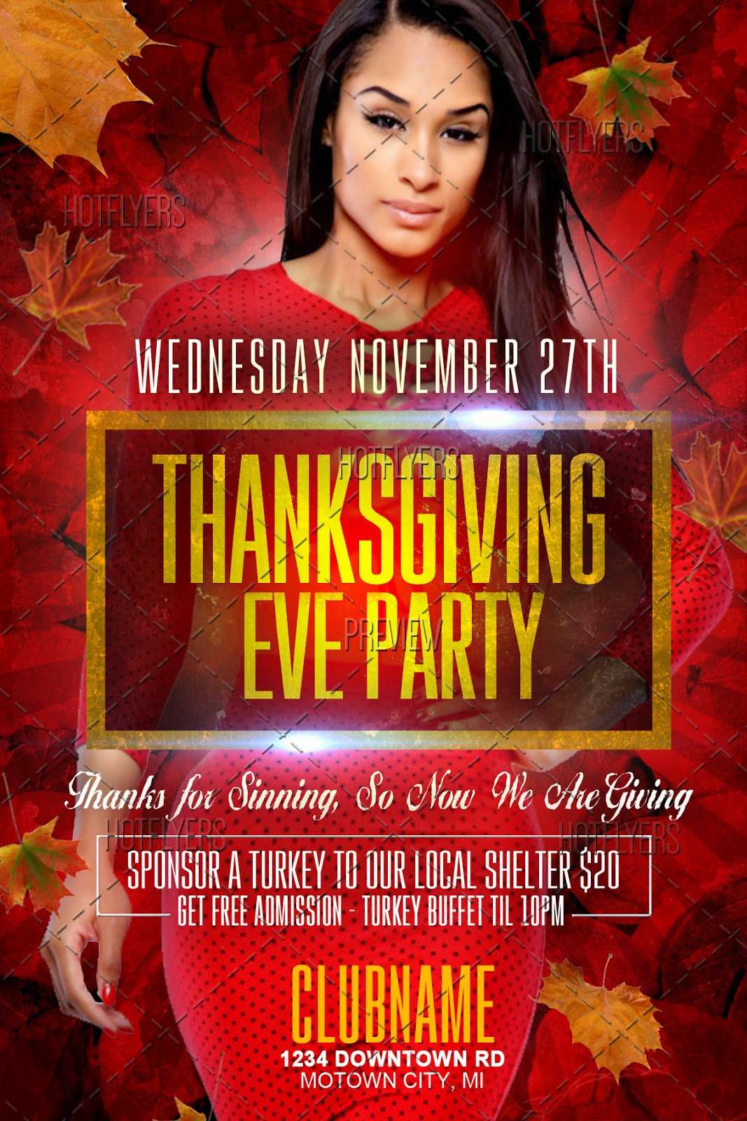 thanksgiving eve party flyer template