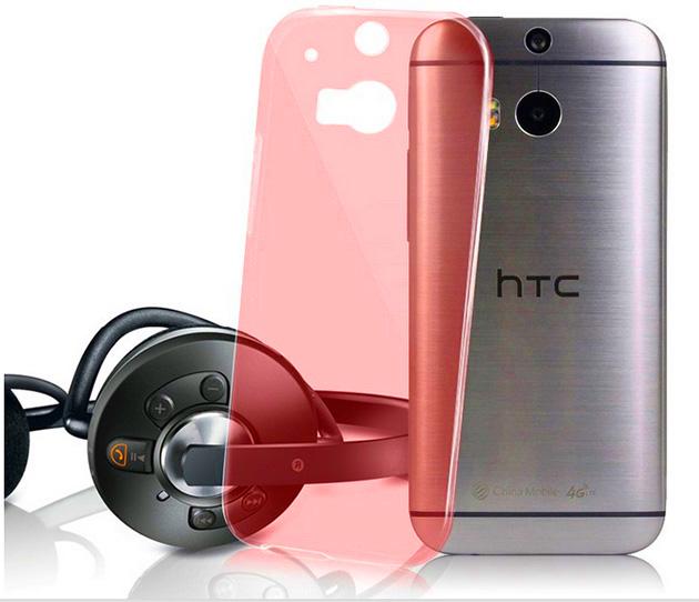 เคส HTC One M8 : รหัสสินค้า 105056 เนื้อใสแดง