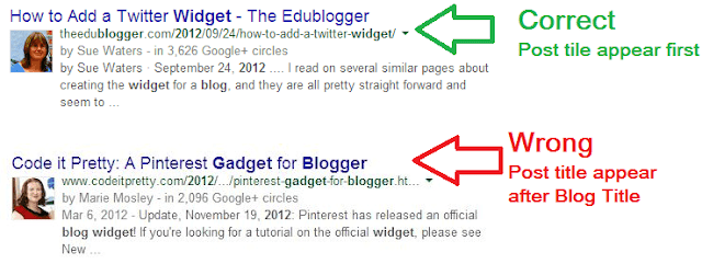Post title SEO correction in blogger