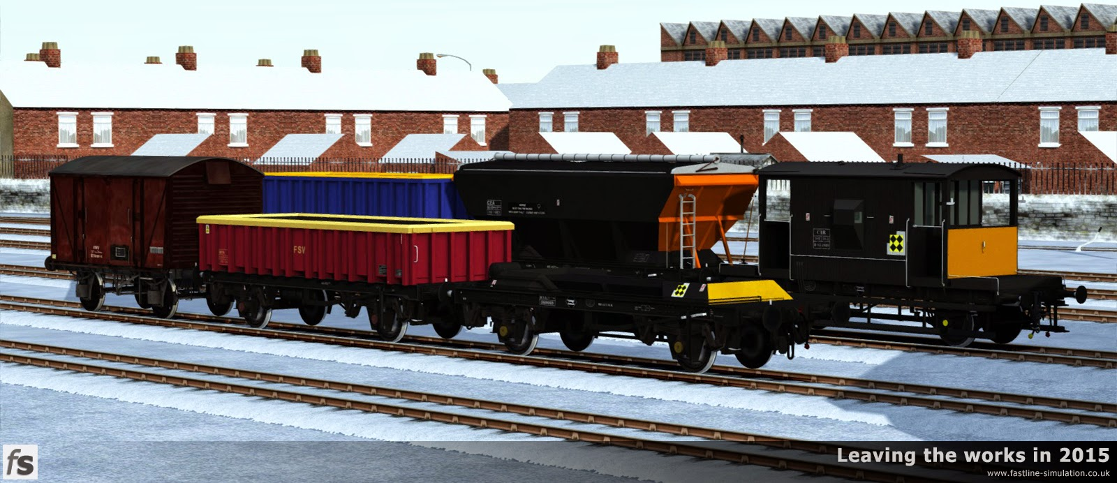 Fastline Simulation: The snow quietly covers the ground as the works shuts down for Christmas, while some of the rolling stock due to leave the works in 2015 waits to be dispatched.