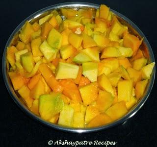 cut the mango in cubes
