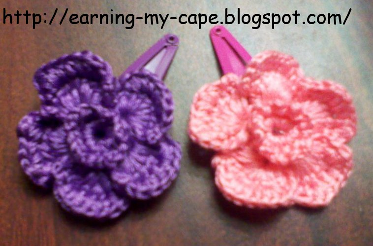Crochet Rose Hair Clip Pattern : Earning-My-Cape: Crochet Flower Hair Clips (free pattern)