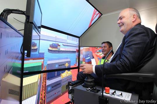 Steven Joyce, Minister for Economic Development, at the official opening of the new administration building and mobile crane simulator at Napier Port, Napier. photograph