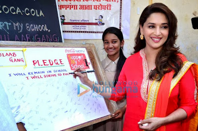 Madhuri Dixit joins Support My School campaign and also promote her movie 'Gulaab Gang'