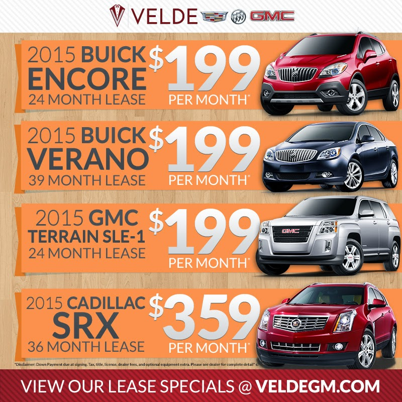 Spring Lease Specials at Velde Cadillac Buick GMC!