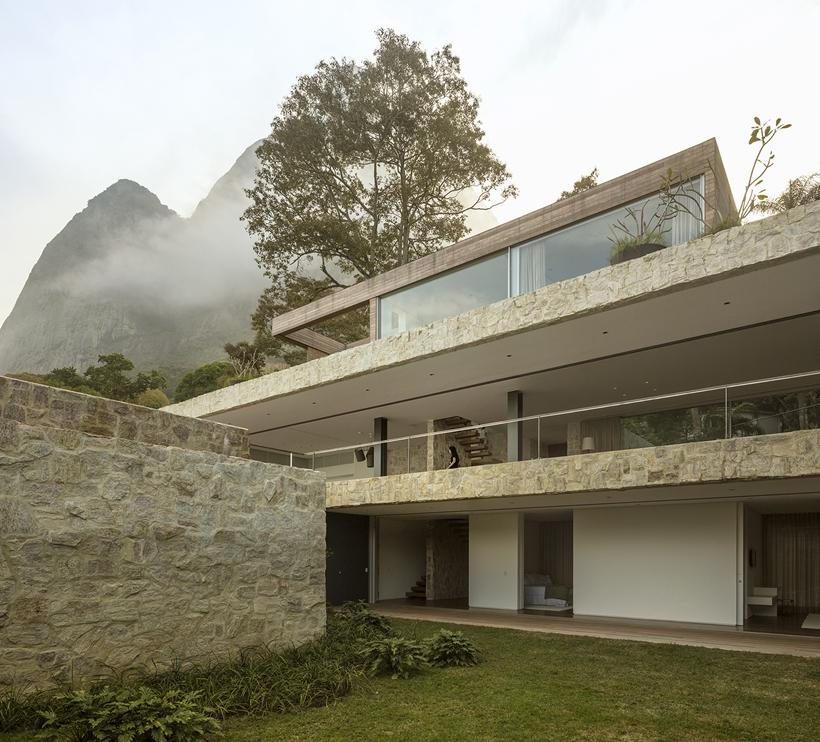 Stone facade of modern dream home in Rio de Janeiro
