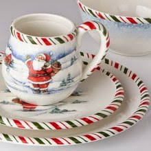 The dinnerware trim on the plates and mugs is a green and red peppermint stripe that accents the plates and ties it into the colors of the season. & Dr. Dinnerware: Kathy Ireland Home Offers Once Upon a Christmas ...
