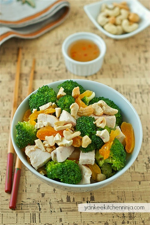 Asian-inspired chicken and broccoli salad with apricots and cashews