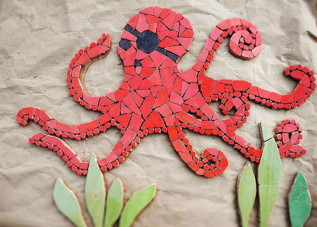 mozaika artystyczna - ośmiornica