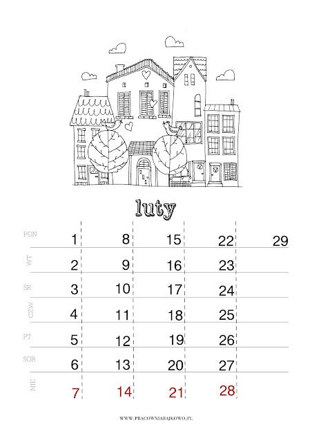 *kalendarz do druku* miesiąc LUTY 2016