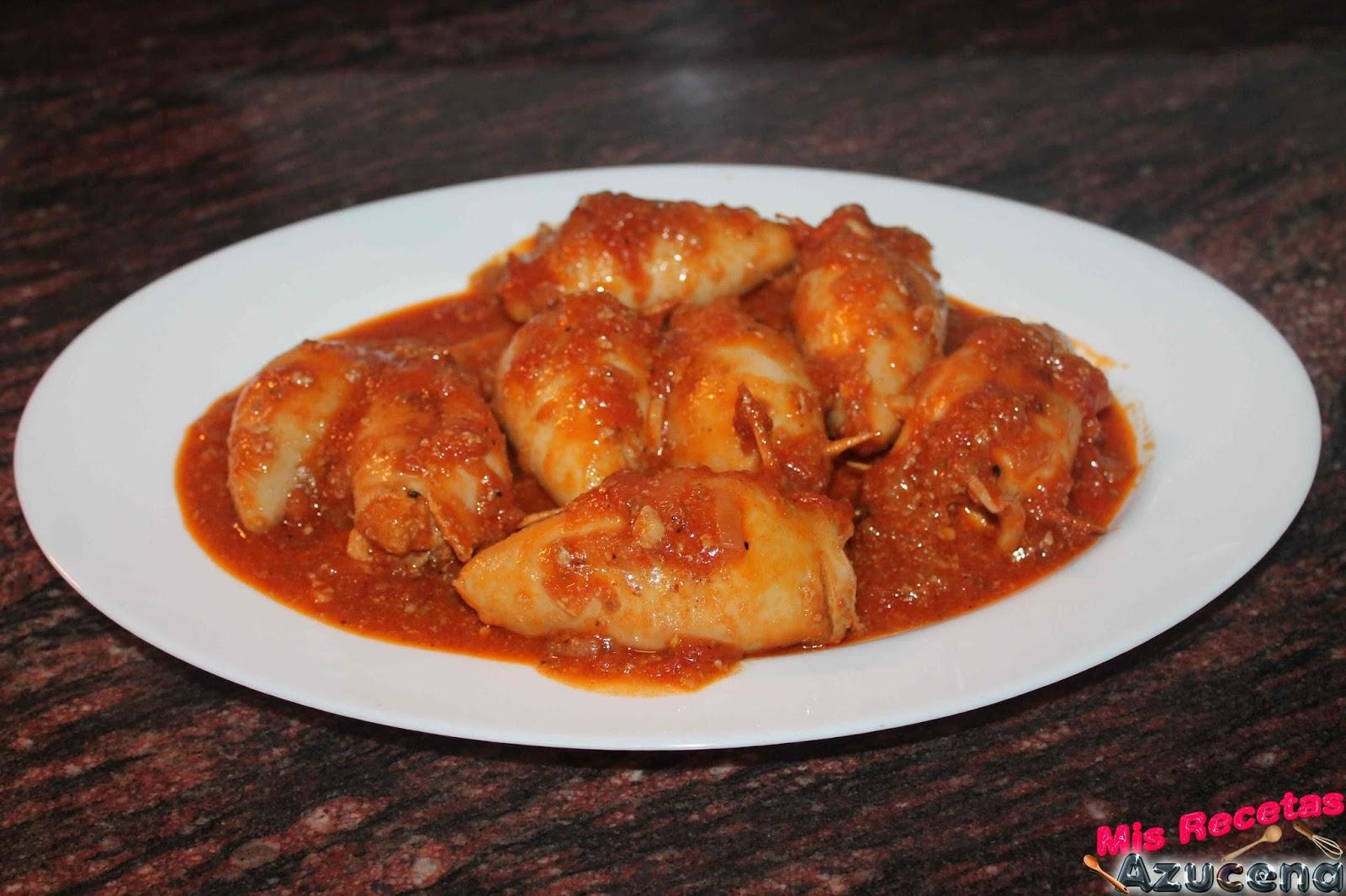 Mis recetas calamares rellenos de carne con salsa - Salsa para calamares rellenos ...