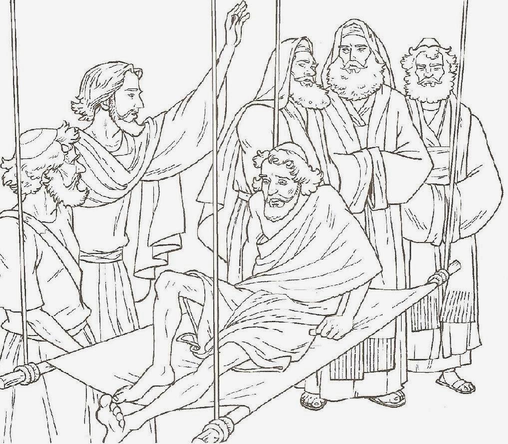 Imagenes Cristianas Para Colorear: Jesus Curaba Enfermos Para Colorear