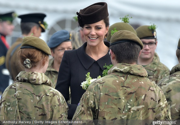 Catherine, Duchess of Cambridge meets cadets during the St Patrick's Day Parade at Mons Barracks