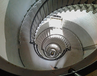 looking down the lighthouse stairs, showing the spiral staircase