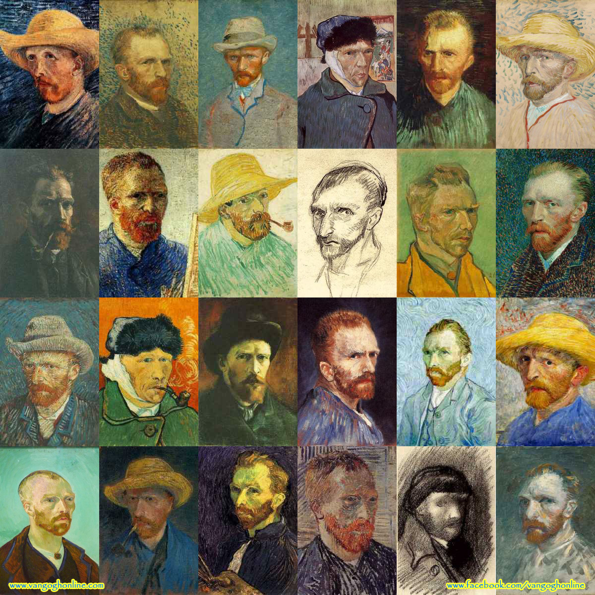 Montage of Vincent van Gogh self portrait paintings