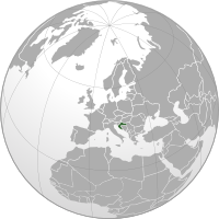 Location of Croatia on the globe