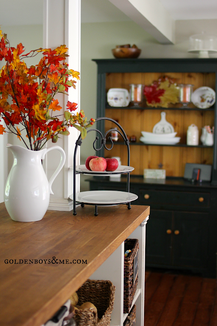 farmhouse style hutch with fall leaves part of Fall Home Tour via www.goldenboysandme.com
