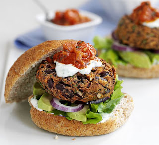 Mexican bean burgers with lime yogurts and salsa