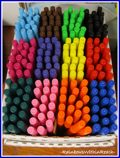 photo of: Markers Organized (Organizational RoundUP via RainbowsWIthinReach) 