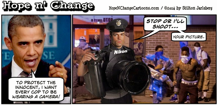 obama, obama jokes, political, humor, cartoon, conservative, hope n' change, hope and change, stilton jarlsberg, ferguson, michael brown, police, hands up