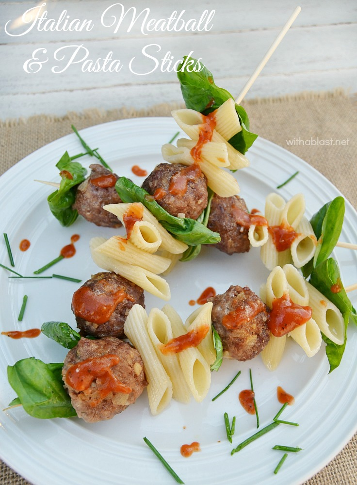 Italian Meatball and Pasta Sticks ~ Serve these FUN Italian Meatball and Pasta Sticks for dinner, with veggies or salad on the side, or serve as an Appetizer
