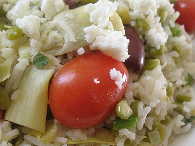 Greek-Style Rice Split Pea Pilaf with Artichokes