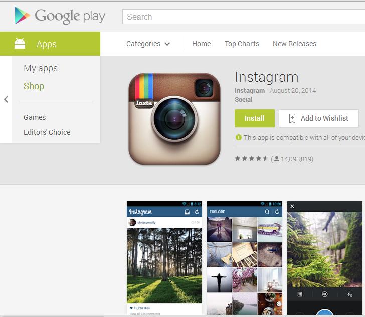 Instagram на Google Play