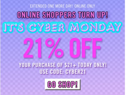 Forever 21 Cyber Monday Extended 21% Off + Free Shipping Promo Code