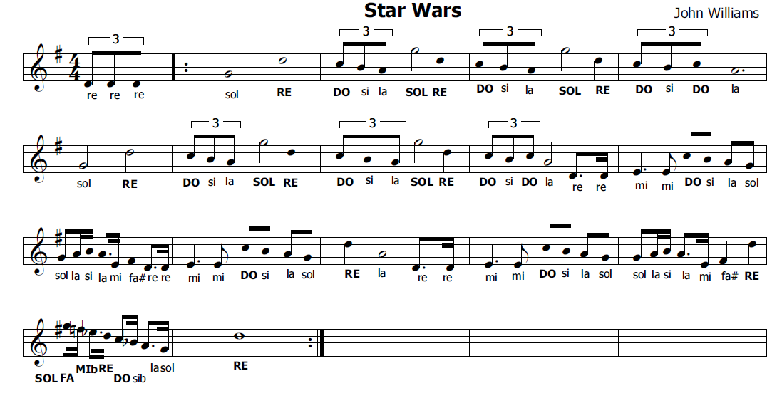 Molto Musica e spartiti gratis per flauto dolce: Star Wars-Guerre Stellari VV18